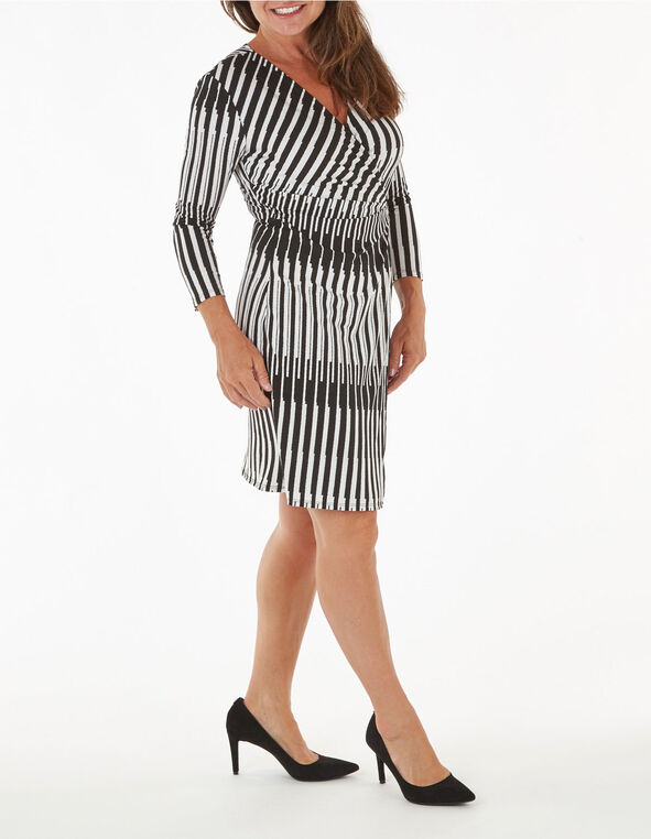 Black Patterned Wrap Sheath Dress, Black, hi-res