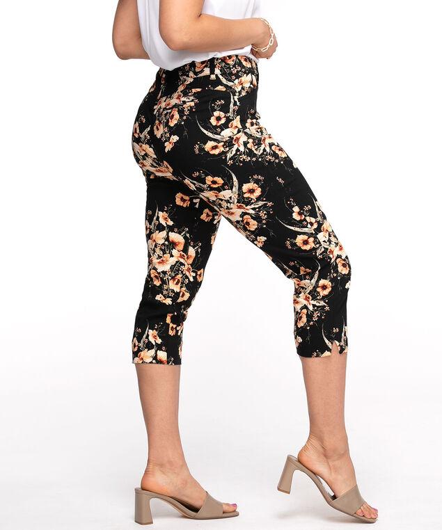 Floral Butt Lift Slim Capri, Black Floral