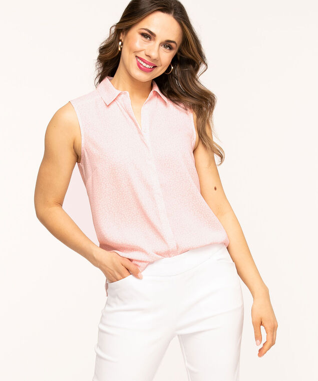 Sleeveless Collared Button Front Blouse, Pink/White Botanical
