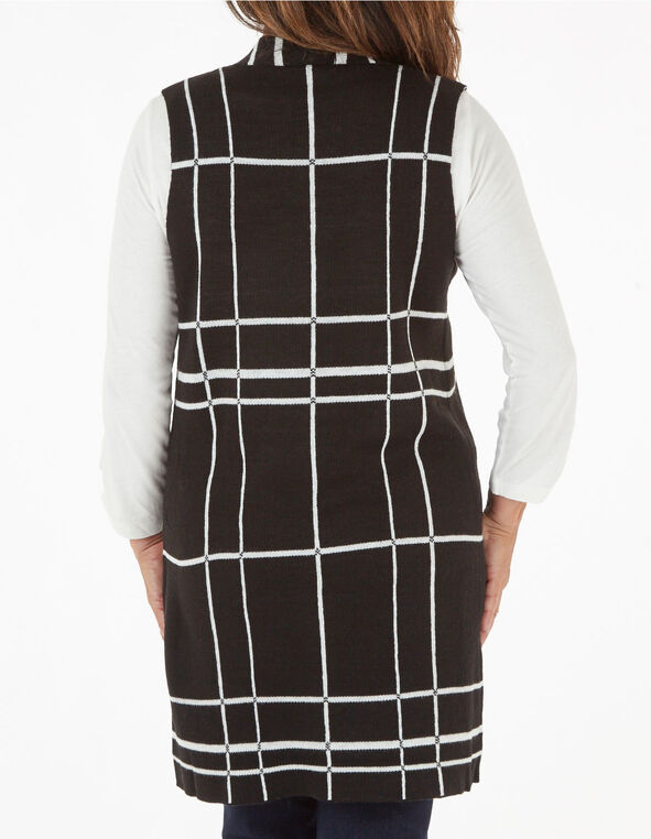 Black Windowpane Sweater Vest, Black, hi-res