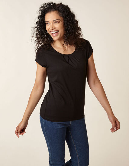 Black Scoop Neck Tee, Black, hi-res