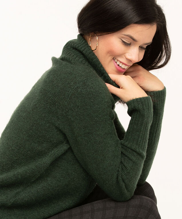 Ribbed Turtleneck Sweater, Forest Green, hi-res