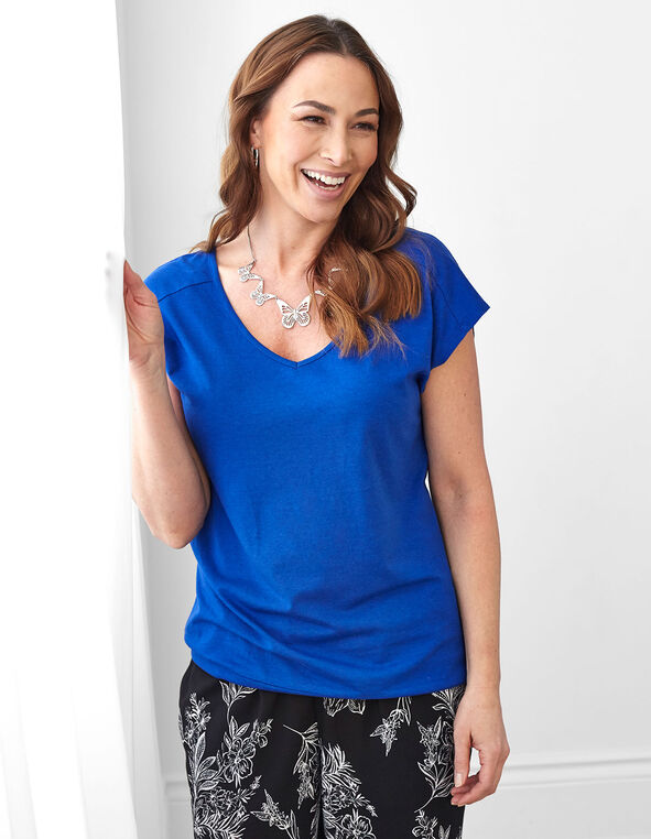 Electric Blue V-Neckline Tee, Electric Blue, hi-res