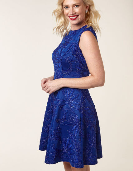 Sapphire Sequin Fit & Flare Dress, Blue, hi-res