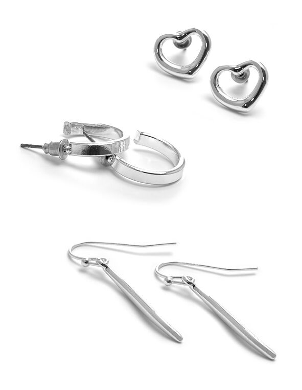 Silver Hoop & Heart Earring Trio Set, Silver, hi-res