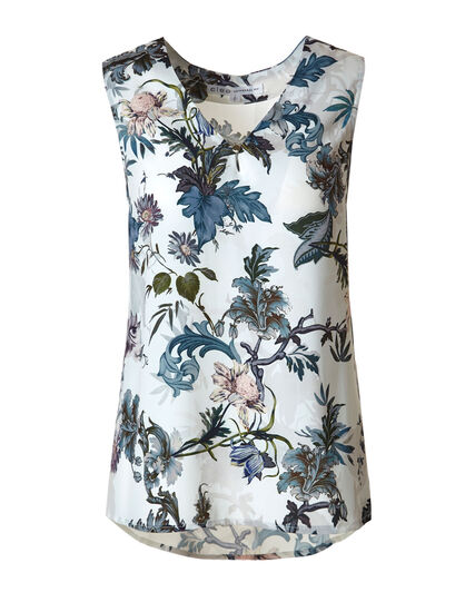 Ivory Floral Shell Blouse, Ivory/Blue, hi-res
