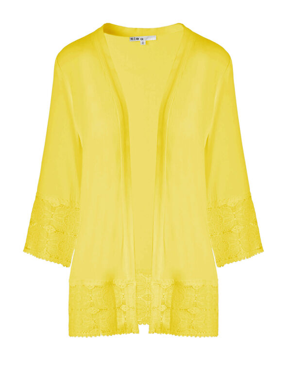 Yellow Lace Trim Cardigan, Yellow, hi-res