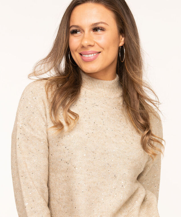 Oatmeal Sequined Mock Neck Sweater, Oatmeal Mix, hi-res
