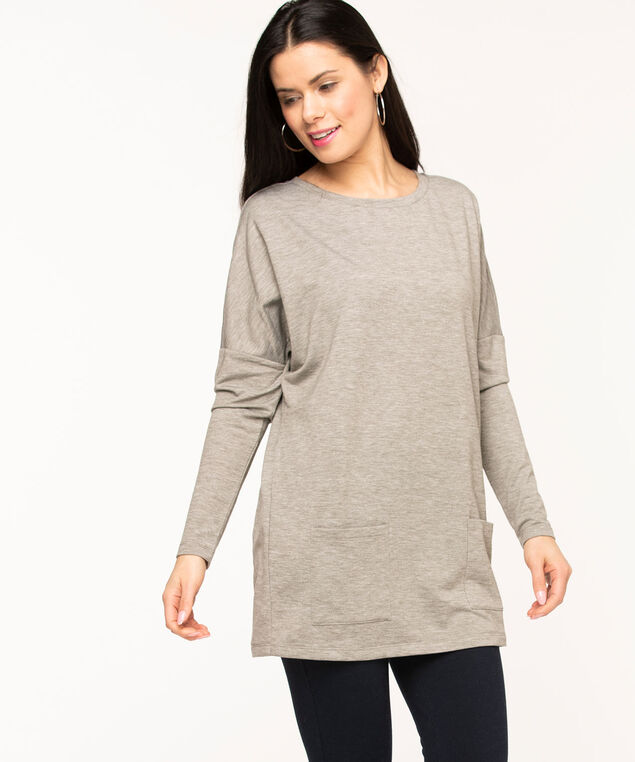 French Terry Long Sleeve Tunic, Grey Mix