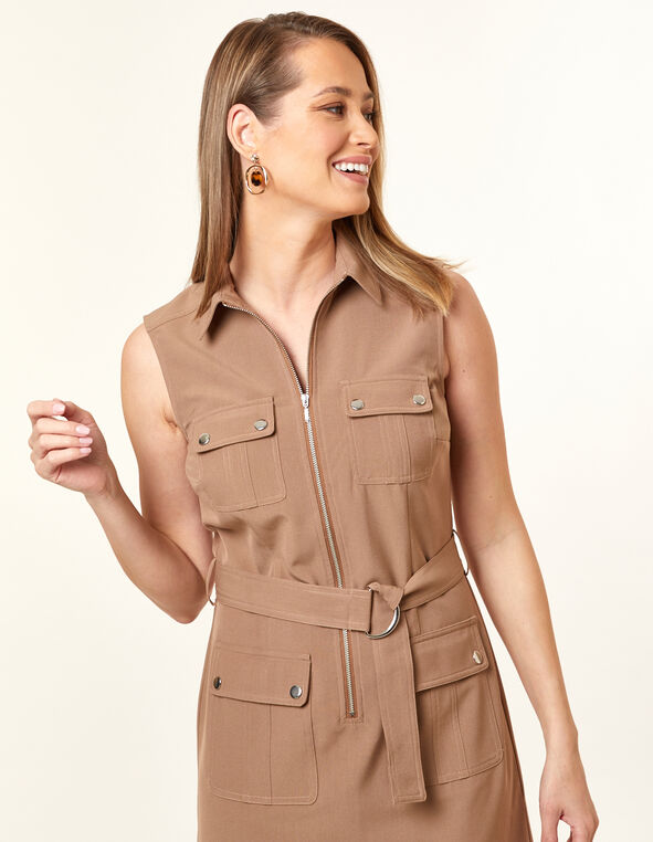 Collared Safari Dress, Camel, hi-res