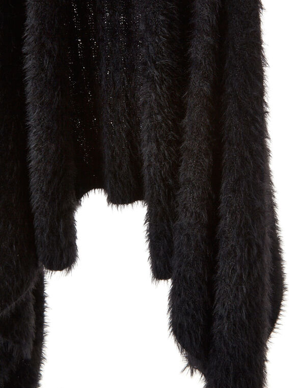 Black Faux Fur Cozy Vest, Black, hi-res