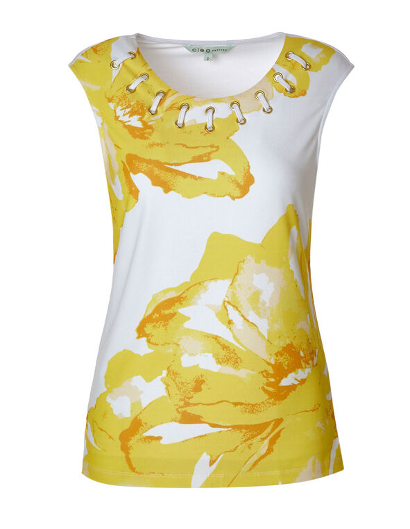 Grommet Neckline Detail Sleeveless Top, Yellow P, hi-res