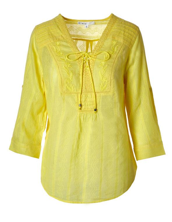 Lemon Cotton Peasant Blouse, Lemon, hi-res