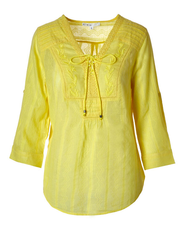 Lemon Cotton Peasant Blouse, Lemon, hi-res
