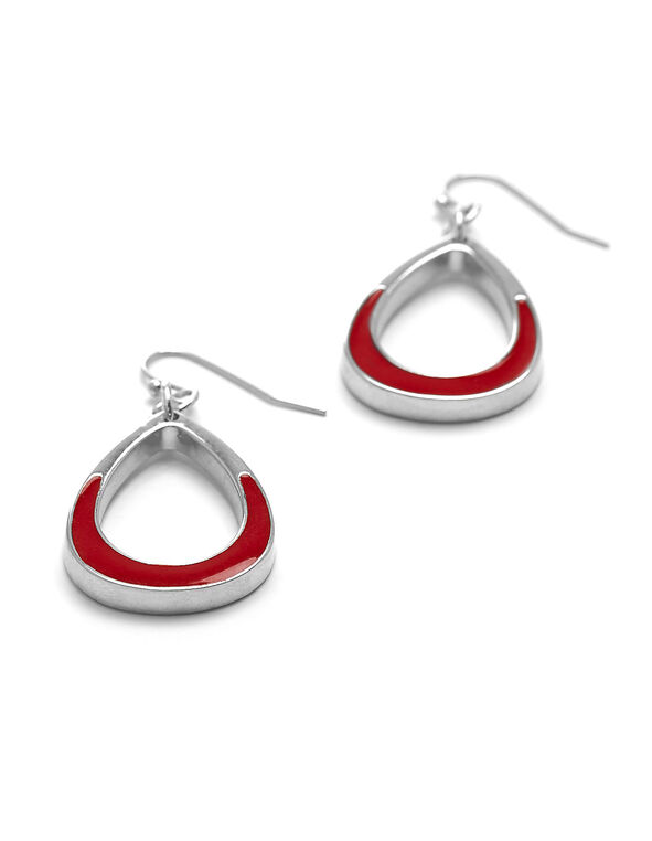 Red Painted Pear Earring, Red, hi-res