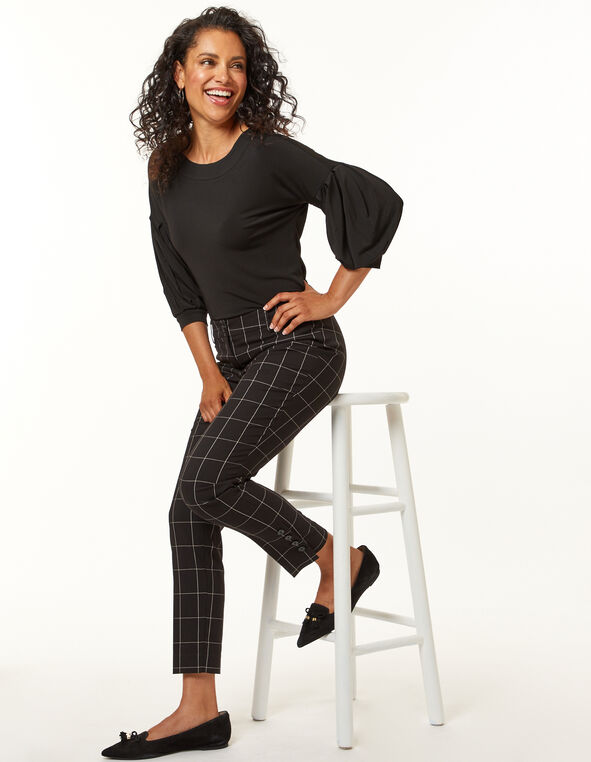 Black Plaid Ankle Pant, Black, hi-res