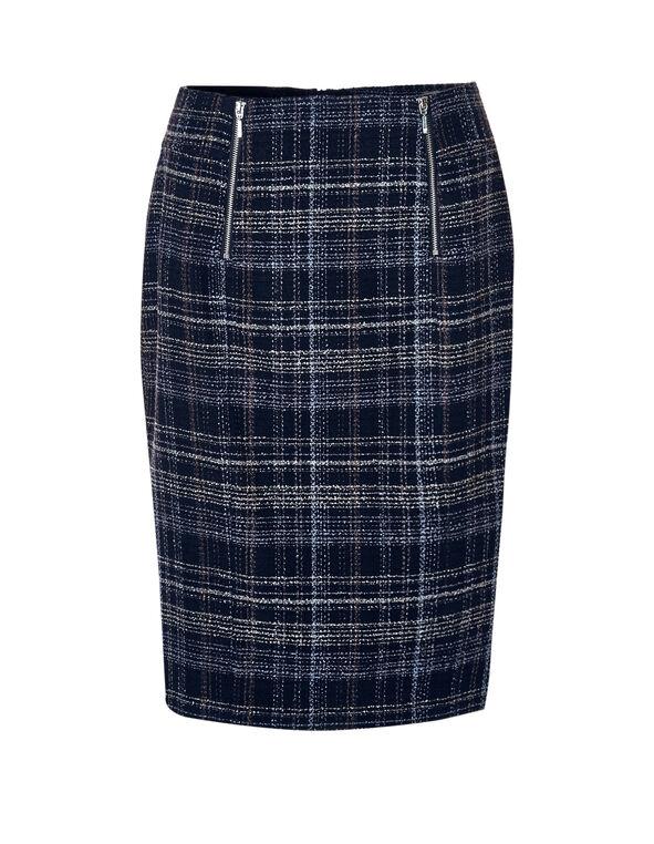 Navy Tweed Pencil Skirt, Navy/White/Blue Cloud, hi-res