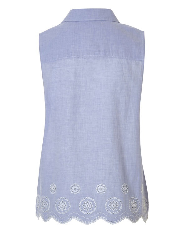 Chambray Structured Blouse, Chambray, hi-res