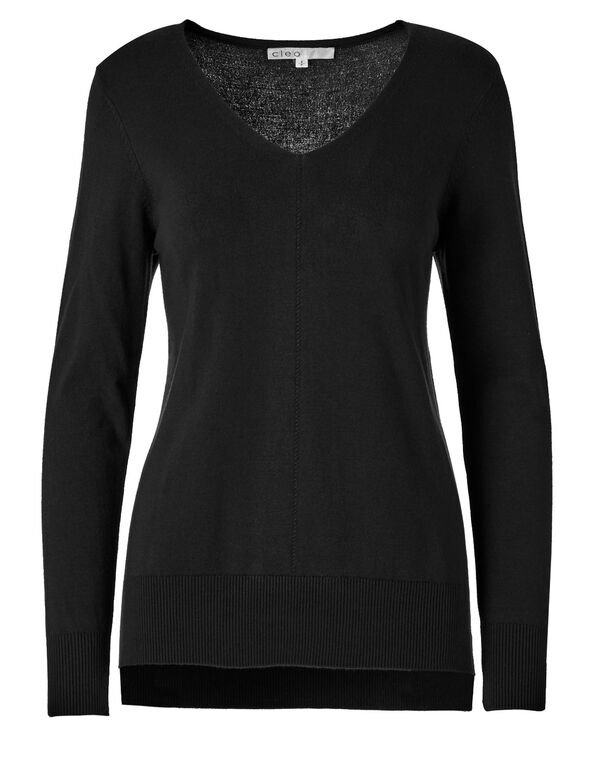 Black V-Neck Pullover Sweater, Black, hi-res