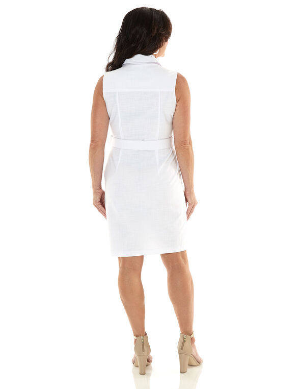 White Cargo Zipper Front Dress, White, hi-res