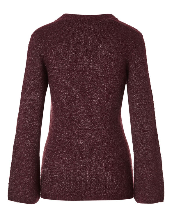Burgundy V-Neckline Shimmer Sweater, Burgundy, hi-res