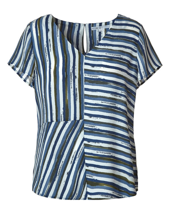 Blue Striped Blouse, Blue/White, hi-res