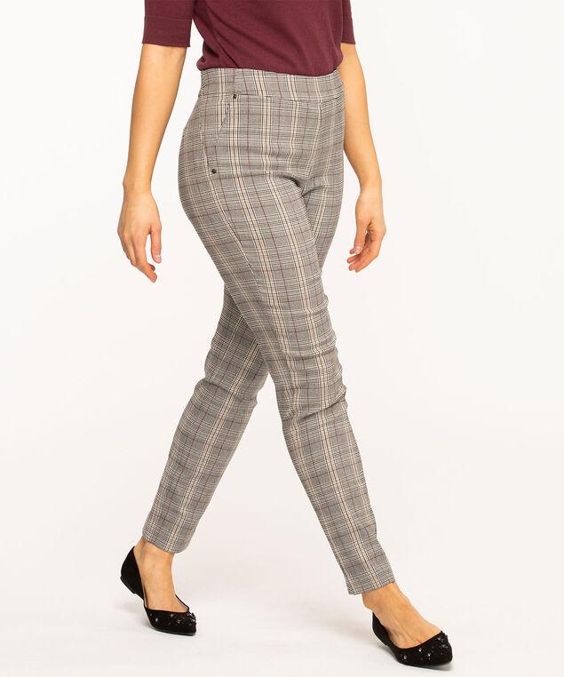 Grey Plaid Slim Leg Pant, Grey Plaid