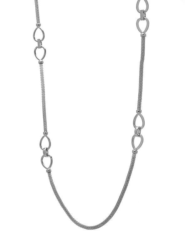 Long Sliver Mesh Necklace, Silver