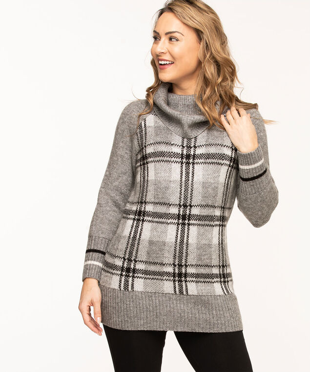 Grey Cowl Neck Tunic Sweater, Grey Plaid