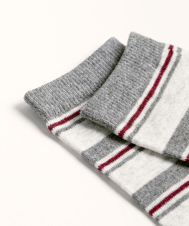 Grey Multi-Stripe Crew Sock, Grey/Rosewood