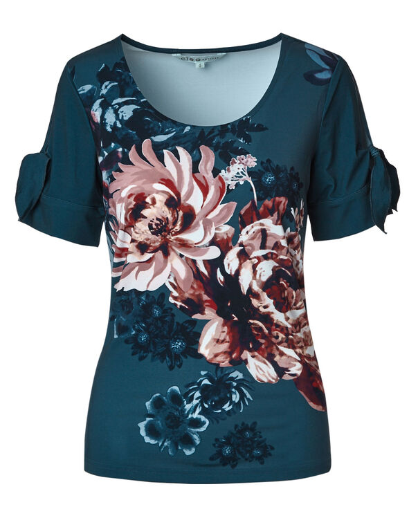 Blue Floral Open Tie Top, Blue, hi-res