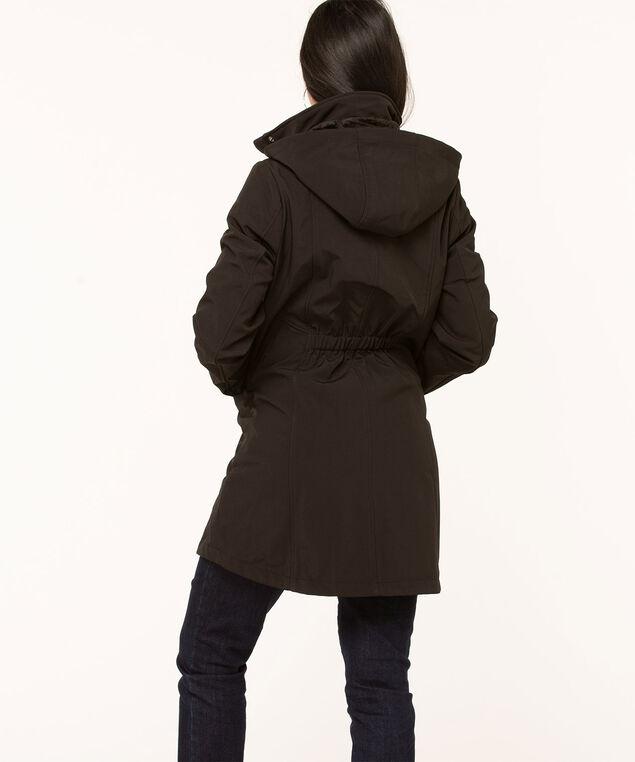 Black Soft Shell Seamed Jacket, Black, hi-res