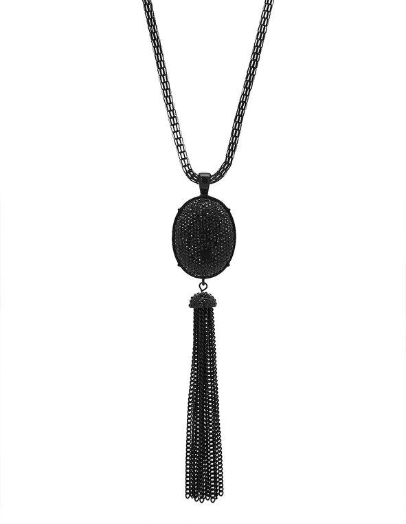 Jet Black Caviar Beaded Necklace, Black, hi-res