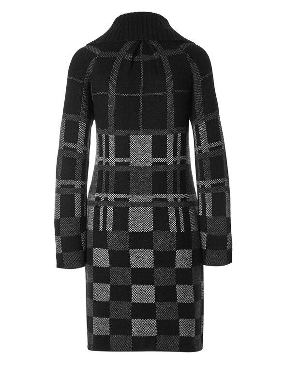 Black Plaid Coatigan Sweater, Black, hi-res