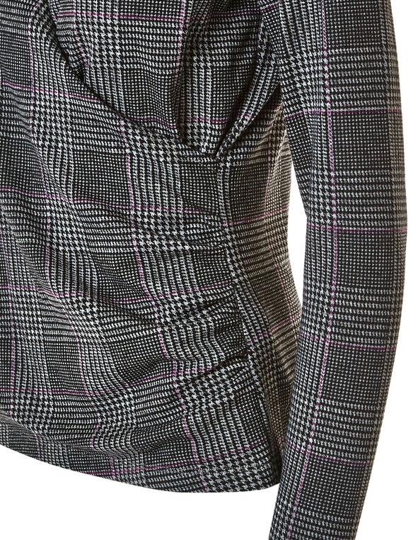 Grey Plaid Faux Wrap Front Hacchi Top, Grey, hi-res