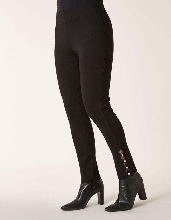 Black Pearl Detail Legging, Black, hi-res