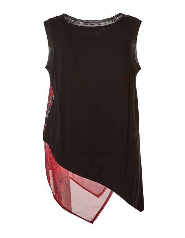 Sleeveless Asymmetrical Top, Black, hi-res