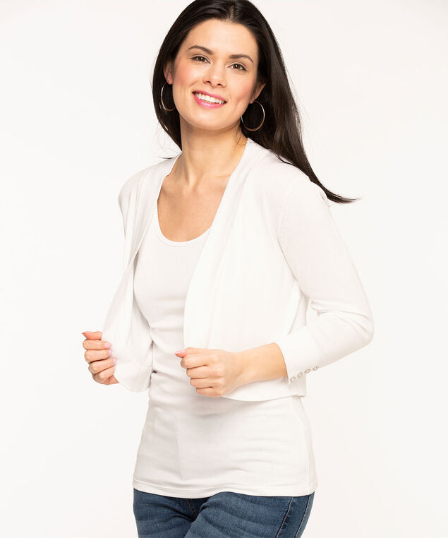 White Button Shrug, White