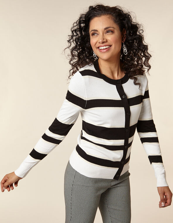 Ivory Striped Button Front Cardigan, Ivory/Black, hi-res