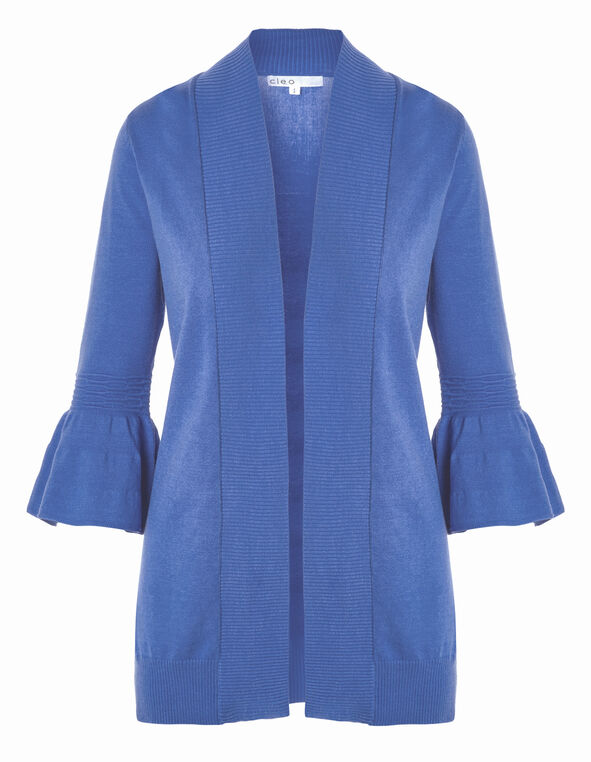 Blue Bell Sleeve Mid Cardigan, Blue, hi-res