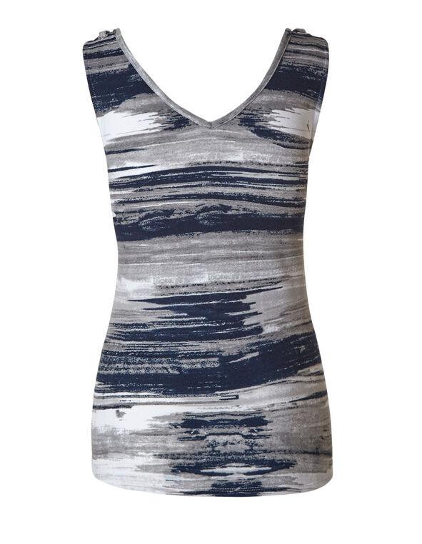 Grey Mix Bubble Crepe Printed Top, Blue/Neutral, hi-res