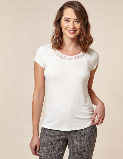 Ivory Lace Cap Sleeve Top, Ivory, hi-res
