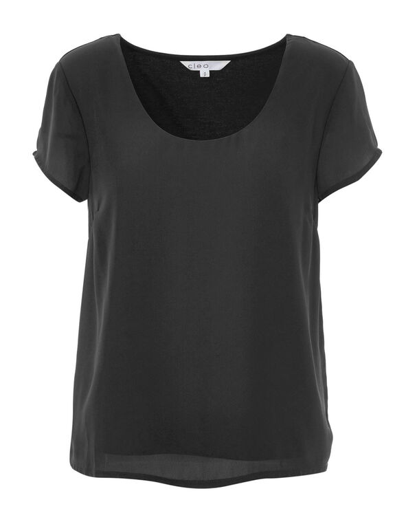 Black Woven Top, Black, hi-res