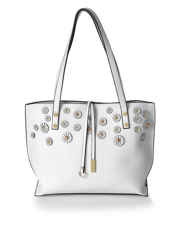 White Floral Applique Tote, White, hi-res
