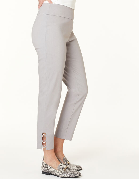 Grey Pull On Ankle Pant, Grey