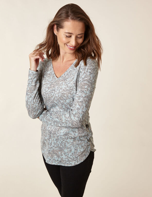 Blue Paisley Faux Button Hacchi Top, Blue, hi-res