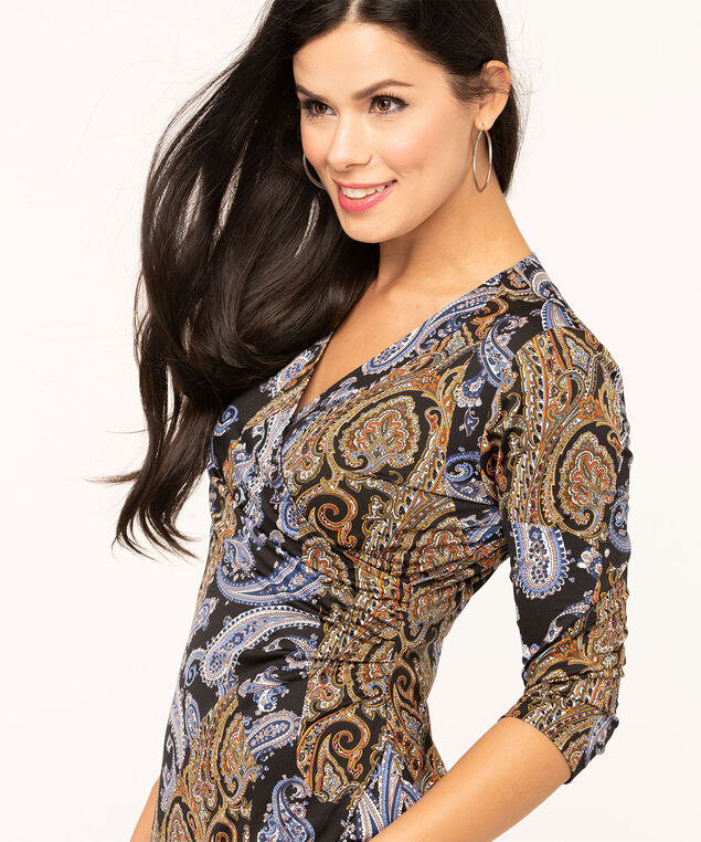 Paisley Printed Wrap Dress, Black/Gold/Navy, hi-res