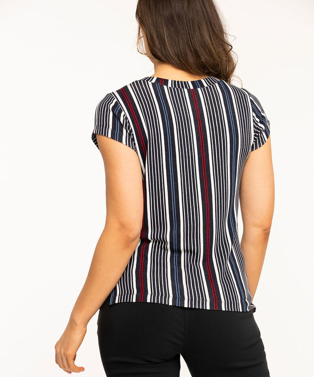 Striped V-Neck Short Sleeve Top, Black/Red/White/Blue