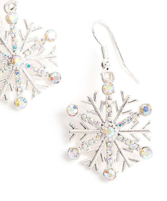 Crystal Snowflake Earring, Silver