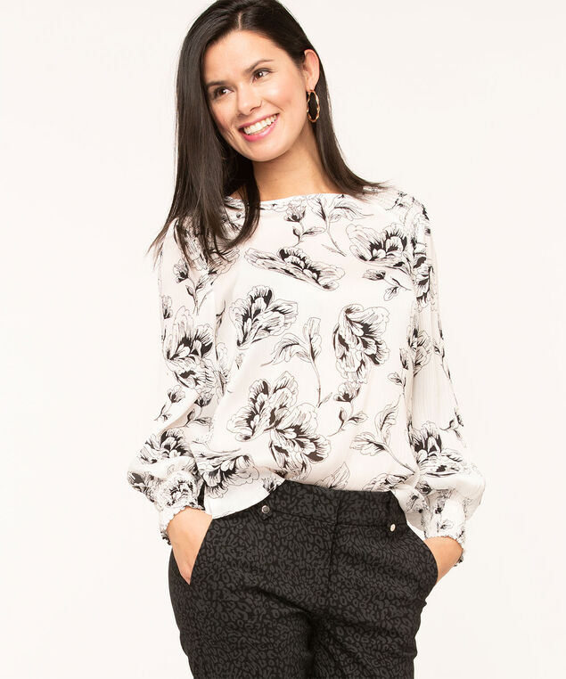 Ivory Floral Smocked Blouse, Ivory/Black, hi-res